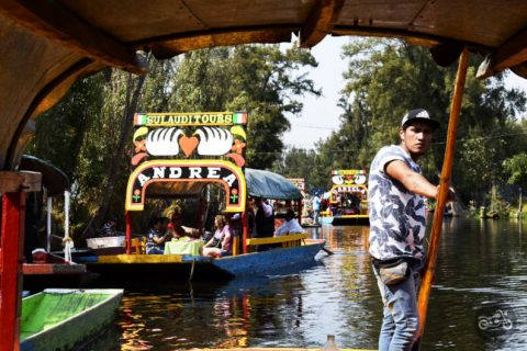 Our guide pushes our boat along the canals of Xochimilco.