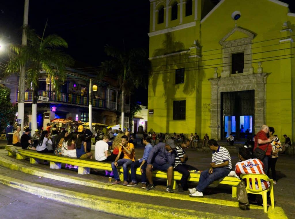 After dark people gather in Trinity Square, located in the Getsemani neighborhood.